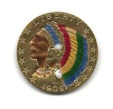 USA 1909 D Colorized Indian Head $5.00 Quarter Ounce Gold Coin Half Eagle
