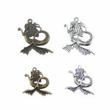 Pack of 4 Vintage Silver Bronze Mermaid Design Metal Charms Pendants DIY Crafts