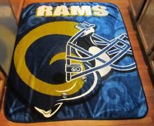 "Vtg Northwest Company Blue & Yellow Rams Football Throw Blanket Usa 50""x60"" Nfl"