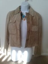 Women's Bernardo Tan Suede Leather Waist Length Jacket Size: 12
