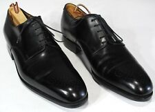 $1100 J M WESTON Black Shoes 7E UK, 8US Scrolled Toe Derby Oxfords