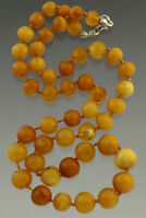 ANTIQUE Vintage Egg Yolk Beads Genuine BALTIC AMBER Necklace 20.8g n41118-2