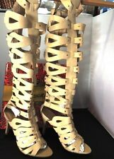 MACHI TAN HIGH HEEL CAGED STUDDED KNEE-HIGH STRAPPY GLADIATOR SANDAL BOOTS