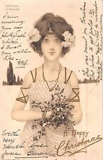 1903 sgd. Kirshner Art Nouveau Girl w/ Flowers A Happy Christmas post card Tuck