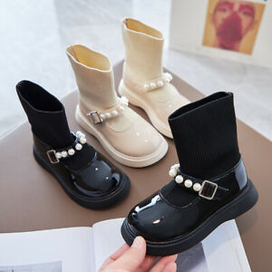 Kids Girls Boots Winter Ankle Low Heel Pearl Chelsea Shoes Toddler Dress Pump
