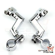 """Motorcycle 1-1/4"""" Longhorn Engine Guard Footpeg With Mounting Clamps For Harley"""