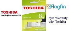 8GB USB Flash Drive Memory Stick Pen Drive - White - Toshiba TransMemory