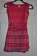 The Children's Place Girls Dress Size Medium 7 8 Pink Sparkles Lace Clothes