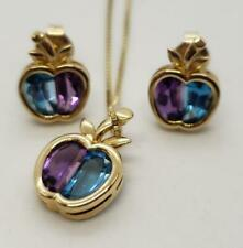 14K Yellow Gold Apple Earrings Amethyst & Blue Topaz & Pendant Necklace Teachers