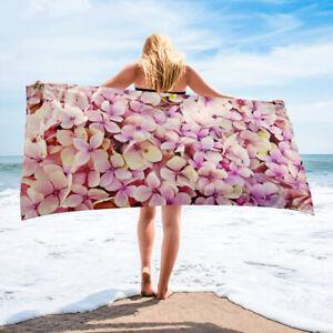 Pink Hydrangea Floral Beach Towel Bath Towels