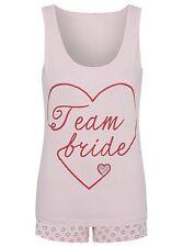 New  PINK  Team Bride Pyjama Set  2-Piece Set Top & Shorts uk SIZE S M L XL