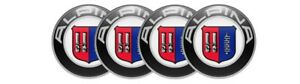 4 x 50 mm Alpina Emblems Silicone Stickers for Center Wheel Caps Rims Decal Logo