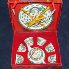 Vintage Chinese Hand Painted Dragon Porcelain Miniature Tea Set in Red Silk Box
