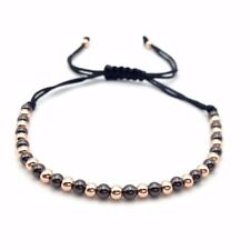 Macrame Braided 4mm Round Copper Beads Bracelet (Black & Rose Gold)