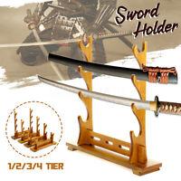 1/2/3/4-Tier Samurai Sword Holder Solid Wood Bracket Rack Hanger Display Stand