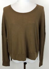 VINCE. Womens M Brown Dolman Sleeve Slouch Oversized Sweater Hi LO Hem