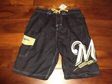 Boys 14 16 Milwaukee BREWERS Swim Trunks Shorts UV50 Sun Protection Blue Lined