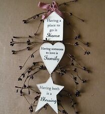 Rustic Country PLACE 2go HOME 2love family both BLESSING berry swag decor Sign