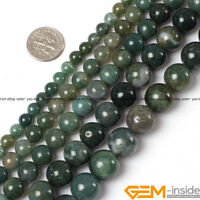 "Natural Green Moss Agate Round Beads For Jewelry Making 15""4mm 6mm 8mm 10mm 12mm"