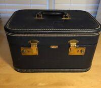 Vintage Mendel Cincinnati Makeup Cosmetic Train Case - Navy Blue