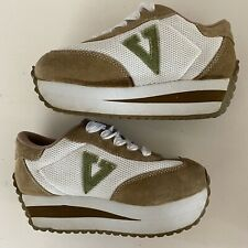 Volatile - Inspiration | Women's Suede Tan/White Lace-Up Platform Sneakers - 6