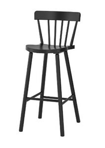 New IKEA NORRARYD Bar stool with backrest,Black,Solid beech,74 cm, 00397736
