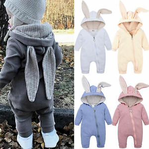 Easter Toddler Baby Kids Bunny Ear Zip Up Romper Pajamas Newborn Jumpsuit Outfit