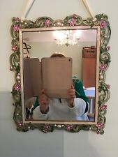 Mirror  Ornate Framed With Green And Pink Metal Flowers  And Pearl Detail