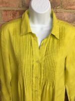 Peck & Peck Women's Linen Pleated Blouse Shirt Top Roll Sleeves, Citron, Size S