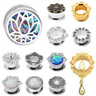 New Pair Sliver Cz Gem Ear Plug Gauge Stainless Steel Flesh Tunnel Double Flared