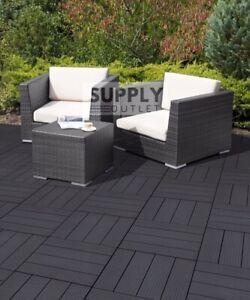 10 x Garden Patio Interlocking Composite Decking Floor Tiles Easy Tile 30x30cm