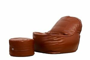 Brown Handmade XXXL Lounge Chair Bean Bag Cover with Footrest Without Beans