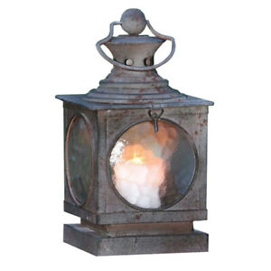 Metal Square Hanging Candle Lantern, Curved Glass Insert