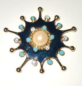 Jose Maria Barrera For Avon Roman Holiday Enamel Faux Pearl Pendant Brooch