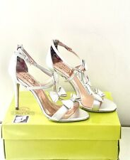 Ted Baker Size 8/ 41 Silver Leather Bow Heel Sandals Weddings Party Bridal Shoes