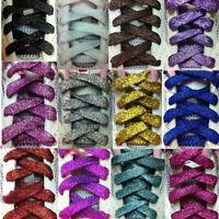Eg _110cm Piatto Paillettes Colorato Lacci di Scarpe Tela Sneaker Stringhe Filo