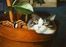 """""""Basil's Baby"""" Matted Artist's Proof - Tabby Cat Print CatmanDrew Drew Strouble"""