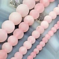 "Natural Pink Rose Quartz Frosted Matte Round Spacer Loose Beads 15"" 4 6 8mm 10mm"