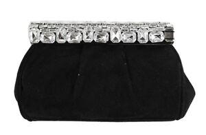 **INC INTERNATIONAL CONCEPTS KELLI Rhinestone Black Suede Clutch Bag Msrp $99.50