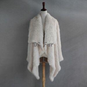 Long Fur Overcoat Irregular Collar Real Knitted Rabbit Fur Cardigan Coat Jacket