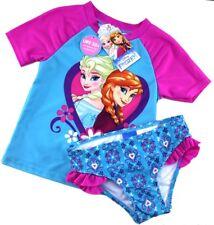 DISNEY 2 Piece SUNSAFE Swim Set UPF 50+ SWIMSUIT Elsa Anna FROZEN Blue Pink