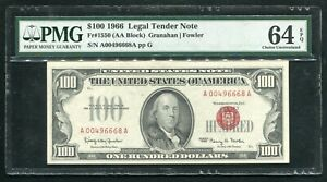 FR. 1550 1966 $100 ONE HUNDRED LEGAL TENDER UNITED STATES NOTE PMG UNC-64EPQ