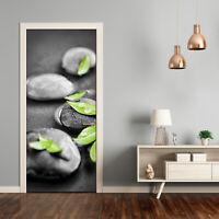 3D Home Art Door Self Adhesive Removable Sticker Flowers Leaves of Zen stones