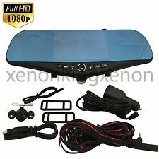"1080 Full HD 5"" Monitor Blue Tint Rearview Mirror Video Camera Recorder #b6 Car"
