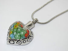 "CREMATION JEWELLERY URN PENDANT NECKLACE ""FLORAL GLASS HEART"" MEMORIAL KEEPSAKE"