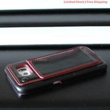 SAMSUNG GALAXY S6 BLACK RED LEATHER HARD BACK CASE COVER CARD HOLDER NEW BADBOY