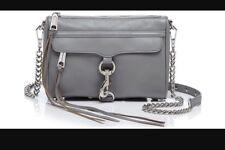 Rebecca Minkoff Mini Mac Bag Crossbody Purse Gray Leather