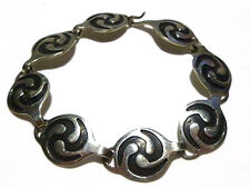 VINTAGE MEXICO MEXICAN STERLING SILVER WOMENS ESTATE ROUND LINK BRACELET 6.25""