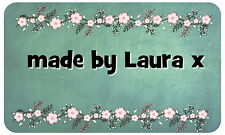HAND MADE BY PERSONALISED GLOSSY STICKERS, SEALS LABELS SHABBY CHIC ( MBL118)