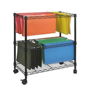2 Tier Rolling Filing Cart Mobile File Trolley Filing Storage Rack Office Black
